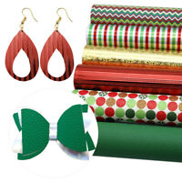 6Pcs Merry Christmas Printed Glitter Laser Faux Leather Sheets Set For DIY Craft