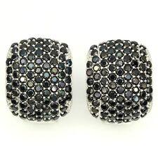 Genuine Pave VVS Black Spinel Dome Omega Hoop Sterling Silver Earrings-925