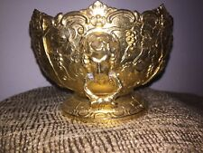Heavy Gilded Bronze Ormolu Tazza Urn, Ornately Decorate- Pedestal and Handles