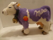 Original Steiff-Milka Lilac/Purple and White Milk Cow W/Cowbell & Tags - Mint