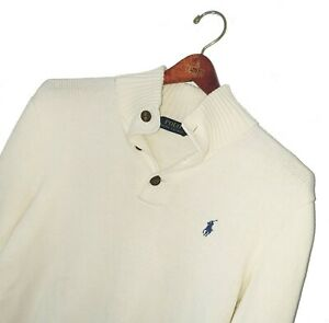 Men's POLO RALPH LAUREN Premium Cream BUTTON NECK Knitted Jumper Size S *VGC*