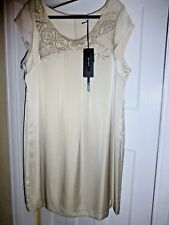 BNWT M&S AUTOGRAPH DRESS CHAMPAGNE LINED CAP SLEEVE GOLD SEQUIN DETAIL SIZE 22