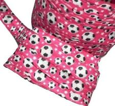 "5 Yards Hot pink scoccer print 5/8"" fold over elastic FOE"