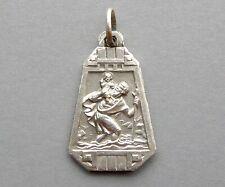 Saint Christopher and Jesus. Antique Religious Pendant. French Art Deco Medal.