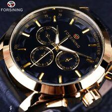 AUTOMATIC Forsining Retro Fashion Designer Dial Genuine Leather Golden Men Watch