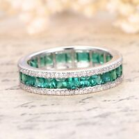 5.00ct Green Emerald & Diamond Eternity Anniversary Wedding Band 14k White Gold