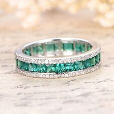 Certified 3.00ct Green Emerald Diamond Eternity Anniversary Band 14k White Gold