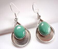 Malachite Oval Earrings 925 Sterling on Silver Teardrop Dangle Drop New