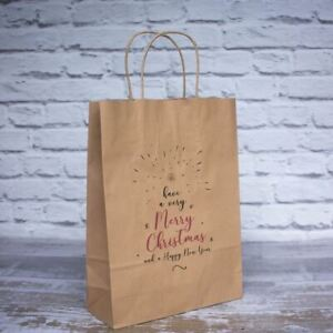 Large Merry Christmas Gift Bags | Festive Brown Paper Bags Eco-Friendly x10