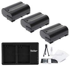 3X EN-EL15 Replacement Battery & USB Dual Charger f/ Nikon D7000 D800 D800E 1 V1