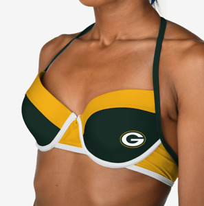 Forever Collectibles NFL Womens Green Bay Packers Team Logo Swim Suit Bikini Top
