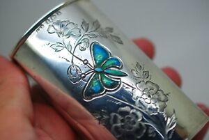 Antique Arts & Crafts Sterling Silver Enamel Glass Scent Perfume Bottle L&S 1909