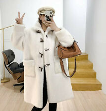 Womens Fluffy Stand Collar Thicken Warm Faux Wool Coat Parka Pocket Korean Party