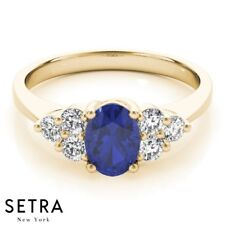Gold Oval Sapphire & Diamonds Ring Elegant Right Hand 14 Fine Yellow