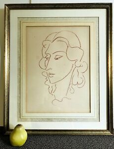 Antique 1945 HENRI MATISSE French Drawing Portrait Woman Poemes Rausch 173