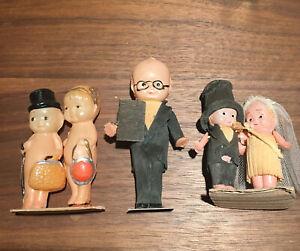 "Antique Celluloid Bride & Groom Cake Topper 3-4""  tall Figurine Set"