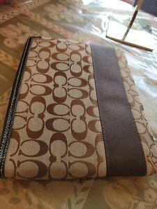NEW Coach Signature C Jacquard Zipper Sleeve Pouch Tablet Case Brown