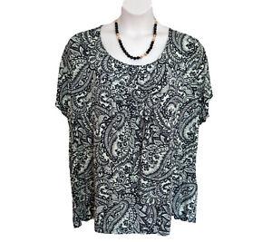 Paisley Pintuck Rayon Shirt Plus Size 3X 24W 26W Croft & Barrow Navy Aqua Top