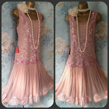 frock frill Pink bead Sequin Zelda 20s  gatsby Deco Wedding Races Prom Dress 18