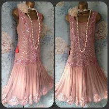 frock frill Pink bead Sequin Zelda 20s  gatsby Deco Wedding Races Prom Dress 18