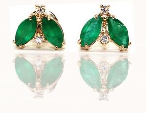 14K Gold Handmade Emerald and Diamond Earring , Diamond and Emerald Earring.
