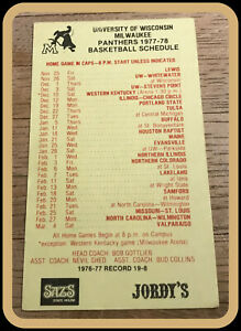 1977-78 U OF WISCONSIN AT MILWAUKEE PANTHERS BASKETBALL POCKET SCHEDULE