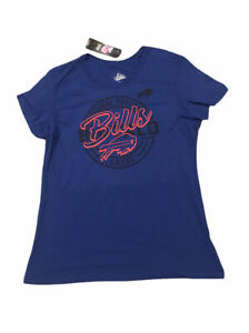 New Womens NFL Buffalo Bills Majestic Blue Tee Shirt Large NWT