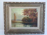 "Normand Original Oil Painting on Canvas Landscape, Framed, 12 1/2"" x 9"" (Image)"