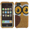 For Apple iPhone 5C Crystal Diamond BLING Hard Case Phone Cover Brown Owl