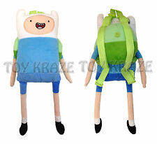 "ADVENTURE TIME PLUSH BACKPACK! FINN THE HUMAN SOFT FIGURE SCHOOL 18-19"" NWT"