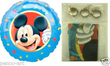 "Pack of 3 Mickey Mouse 18"" round foil helium balloons + clipstrip ribbon weights"