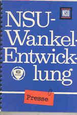 1966 1967 NSU Wankel Rotary Spider Engineering Press Book Brochure German wu0581
