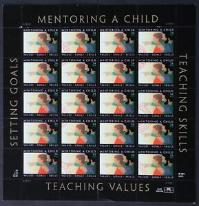 U.S. Used #3556 34c Mentor A Child Sheet of 20.  Lovely CDS Cancel. Scarce!