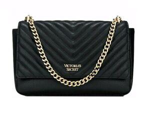 Victoria's Secret Pebbled Black V-Quilt Street shoulder Bag Chain Strap Purse