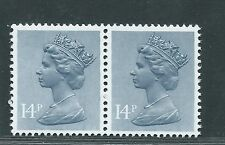 GB unused SG x946, Scott MH85 14p gray blue Machin phosphor paper pair MNH