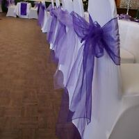 100PCS 30 Colors Organza Chair Sashes Bow Cover Wedding Party Banquet Decoration