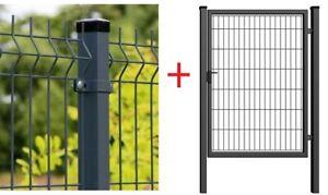 Stabmattenzaun Gartenzaun Zaun 50m kpl. 123cm 3D 4mm + Gartentor 100x120 RAL7016