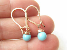 UNIQUE TURKISH TURQUOISE ROSE GOLD 925K STERLING SILVER HANDMADE BALL EARRINGS