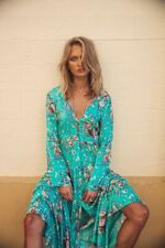Arnhem Sugar Maxi Floral Turquoise Duster Maxi Dress Size S