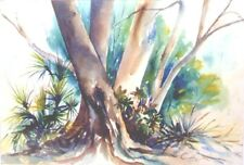 """A SQUIRRELS VIEW, Original Water Color Artist Signed Framed 30"""" x 24"""""""