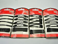 48 Assorted Black Metal Snap Hair Clips & Bobby Hair Pin Clips