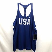 Nike Dri Fit Team USA Tank Top Womens Athletic Blue Stretch Polyester SpandexNew