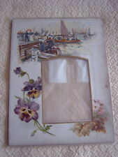 VINTAGE PICTORIAL PHOTOGRAPH MOUNT - FLOWERS - YACHTS - ROWING BOAT - SAILORS