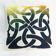 US Seller-pillow cases Celtic knotwork cotton linen cushion cover dark blue