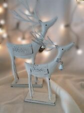 Heaven Sends White Christmas Free Standing Reindeer Decoration With Bell