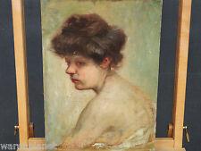 HEINRICH LANDGREBE ÖL GEMÄLDE ANTIK 1914 PORTRAIT FRAU PROFIL RÜCKEN girl woman