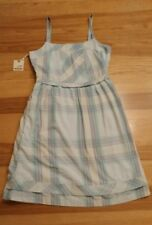 Horny toad cotton blend blue plaid dress size Small spaghetti straps