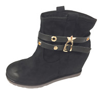 Womens Ladies Black Faux Suede Wedge Heel Winter Shoes Ankle Boots Size UK 7 New