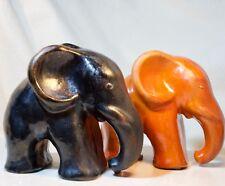 antik Elefant schwarz + orange Elephant  Elefanten Paar Art Déco Keramik