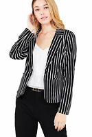 Women's Juniors Premium Stretch Striped Long Sleeve Jacket